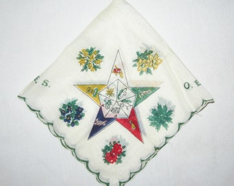 Vintage O.E.S. Order of the Eastern Star Floral Handkerchief Hankie