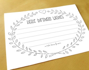 Advice Cards - Little Birthday Wishes - Birthday Wish Cards - Printable - Instant Download