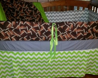 Football and Chevron crib bedding set