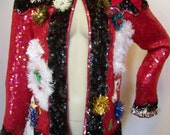 VTG Ugly Christmas Silk Jacket Full Red Black Sequins Stocking Garland Ornaments