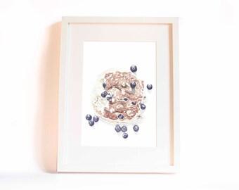 Fluffly blueberry pancake - watercolour print A5 - limited edition,  Minimalist Modern Art print