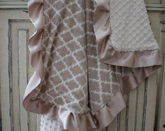 Light Mocha Moroccan Tile with Ivory Dimple Dot & Champagne Gold Satin, Girls, Baby, Nursery, Crib Bedding, Pillow, Peacock Feather