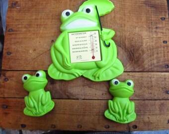 Vintage Miller Studio Frogs Chalkware Plaques - Bathometer Frog - 1970's Chalkware Frogs