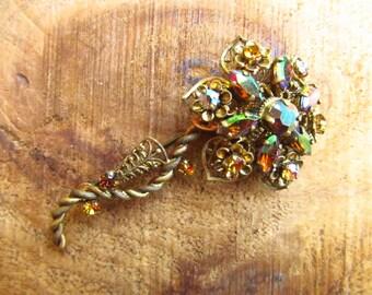 Vintage Western Germany Flower Brooch - Crystal Rhinestone Flower Brooch
