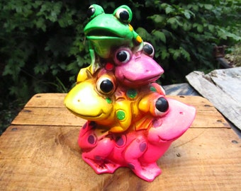 Vintage Frog Bank - Stacked Frogs Bank - 1970's Animal Bank
