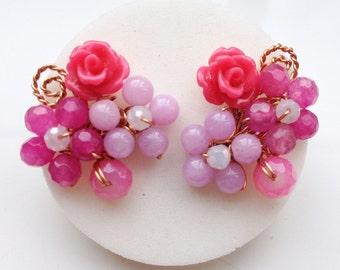 Hot Pink earrings, floral Jewelry, Rose Earrings, Rose Jewelry, Coral Earrings, Floral earring, Flower Jewelry, Unique Jewelry