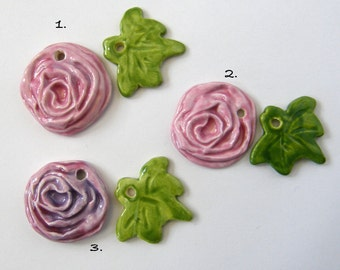 Ceramic Rose leaf Pendant set