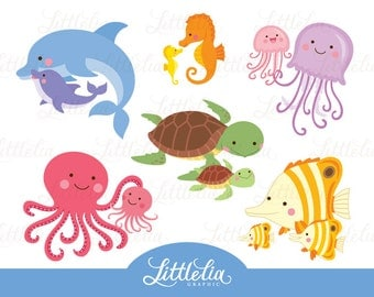 Sea animal mom and baby - family clipart - 16056