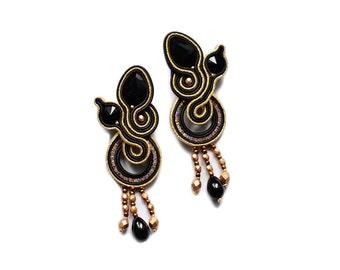 Black & Gold  soutache earrings, orecchini soutache, boucles d'oreilles soutache