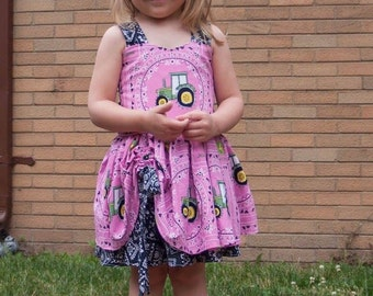 Handmade Peekaboo Dress John Deere Inspired sizes newborn - girls 8