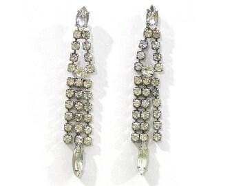Vintage Rhinestone Dangle Earrings for Pierced Ears Rhinestone Earrings Sparkly Earrings Glam Earrings