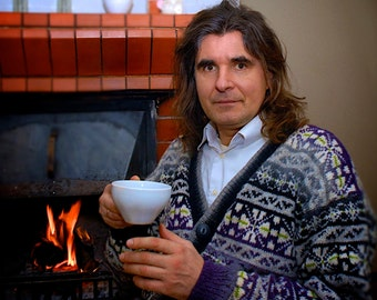 Fair Isle cardigan Men's sweater Pure wool cardigan Fair Isle sweater Natural wool cardigan Lilac sweater