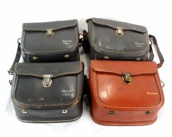 Lot of 4 original vintage Keystone movie camera leather bags