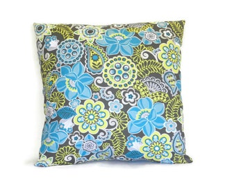Floral Pillow - Grey and Yellow Pillow - Teal Pillow Cover - Grey Pillow - Turquoise Pillow, 16 x 16 pillow cover -  18 x 18 pillow cover