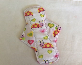 """10.25"""" Hearts and Lady bugs   On Minky Top reusable cloth pad ( regular )"""