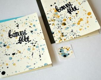 Bonne Fête French Celebration Card - Hand-painted Blue & Yellow Splatter Paint Pattern
