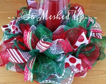 Deco Mesh Christmas table centerpiece/Candle ring in traditional red, emerald green and white