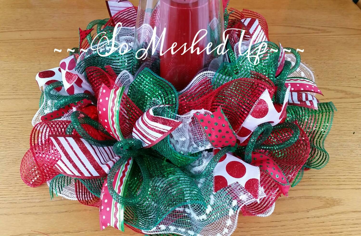 Deco mesh christmas table centerpiece candle ring in