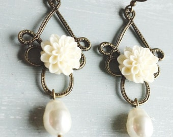 50% Off SALE Earrings, Ivory Resin dahlia and Swarovski Pearl dangle earrings