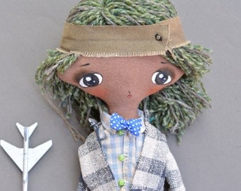 Vintage style boy - Hipster boy - Stuffed toy - Fabric toy - Baby nursery decor - Kids room decor - Toy for wall