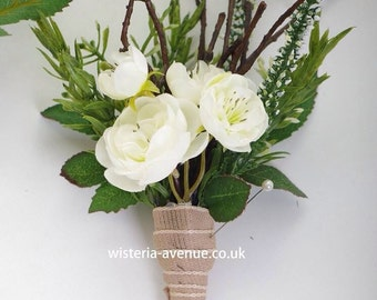Artificial Rustic Rose Buttonhole/Bouttoniere