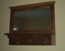 Reclaimed Wormy American Chestnut Hall Mirror, Coat, Keys or Hat Rack, Shelf