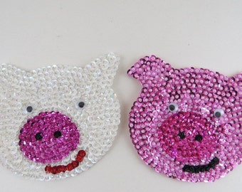 Pig Magnet, Glass Beaded Magnet, Animal Magnet, Kitchen Magnet, Refrigerator Magnet, Felt Magnet