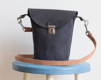 Hand made leather shoulder bag dark blue