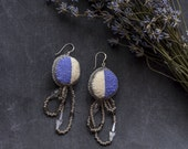 Embroidered earrings inspired by lavender