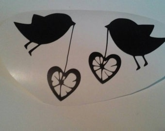 Bird Wall Decal/Heart Wall Decal/Birds and Hearts Wall Decal/Birds/ Hearts