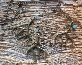 Antique gold and turquoise deer antler earrings and necklace set: deer jewelry set