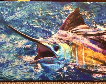 Colorful Sailfish painting print on canvas: Sailfish off shore fishing print on canvas 16x20""