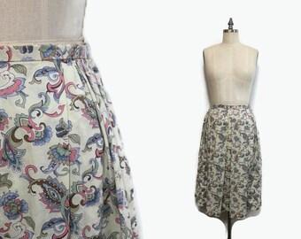 High Waist Skirt M / 50s Cotton Skirt / 1950s Floral Skirt 30 Waist
