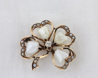 Edwardian Clover Pin, Antique Seed Pearl Four Leaf Clover Brooch, Yellow Gold Diamond Clover