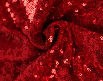 3mm Mini sequins Fabric material, 1 way stretch /130cm wide / SPARKLING RED SEQUINS