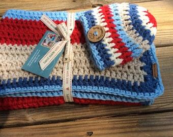 Crochet Baby Blanket and matching hat , Baby Blanket, receiving Blanket, Christening Gift, Newborn Gift, Baby Shower gift, Crocheted hat,