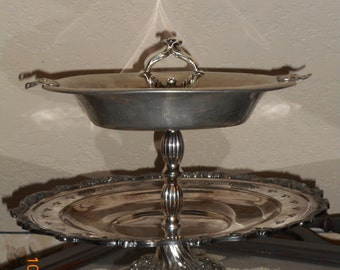2-tiered tarnished silver centerpiece/dessert tray