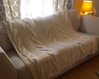 handmade cable-knit afghan/ throw (in light beige)