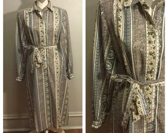 1980's La Chemise Patterned Dress