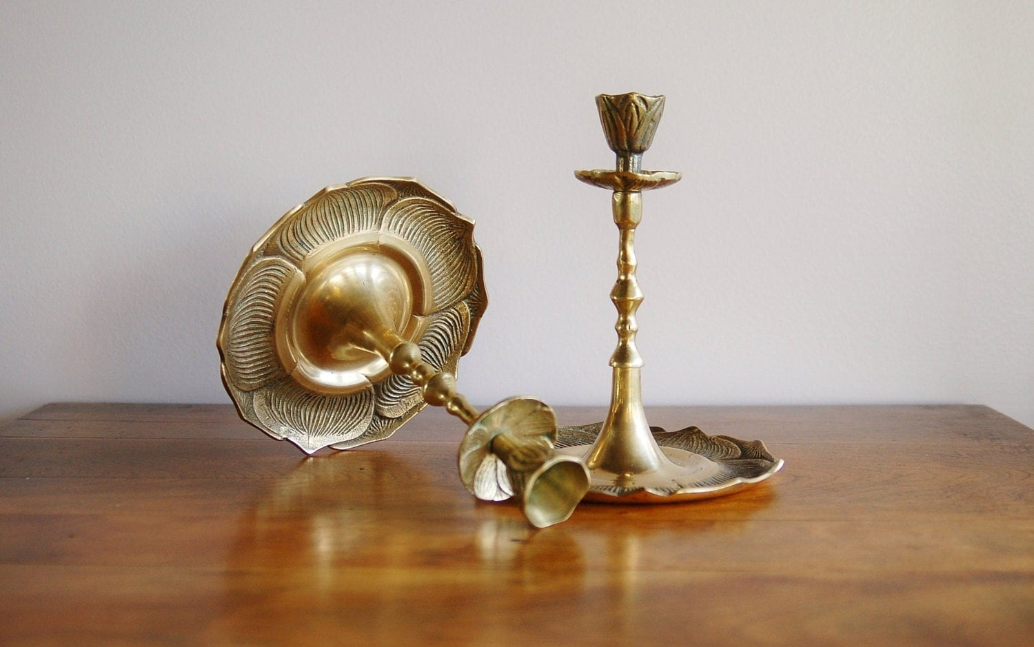 Brass Flower Candle Holders Candleholders Pair Brass Floral