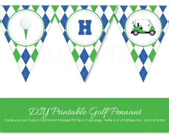 Golf Party Pennant to Print at Home, Printable Golf Party Banner with Custom Text for Letter or Number, Custom Editable Golf banner to Print
