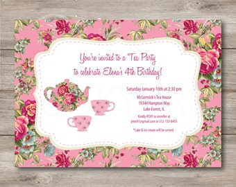 Tea Party Invitation with Editable Text, Printable Tea Party Birthday Invitation, Girls Tea Party Invitation with Editable Text, Tea Invite