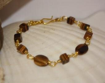 Tigereye & Gold Linked Bracelet