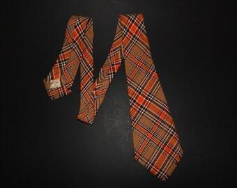 """44"""" Botany Mills Wool Mextex Mens Necktie Brown Orange White Plaid"""