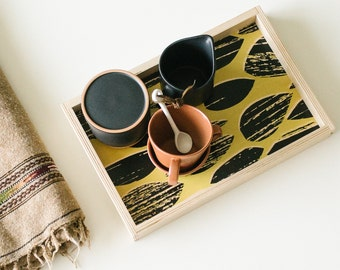 Modern Decorative Tray, Hand Screen Printed Small Wood Serving Tray in Black and Mustard Graphic Pattern - Coffee Table Tray - Bed Tray