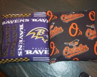 8 ACA Regulation Cornhole Bags - NFL Baltimore Ravens and MLB Baltimore Orioles