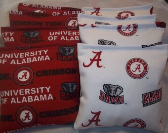 8 ACA Regulation Cornhole Bags - 8 handmade from Alabama Crimson Tide on 2 Different Prints