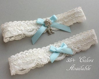 Something Blue Wedding Garter SET, Personalized Bridal Garter Set, Lace Garter Set, Custom Garter with Toss Garter, Silver Initial Garter