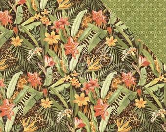 2 Sheets of SAFARI ADVENTURE Scrapbook Paper by Graphic 45 - Lush Landscape