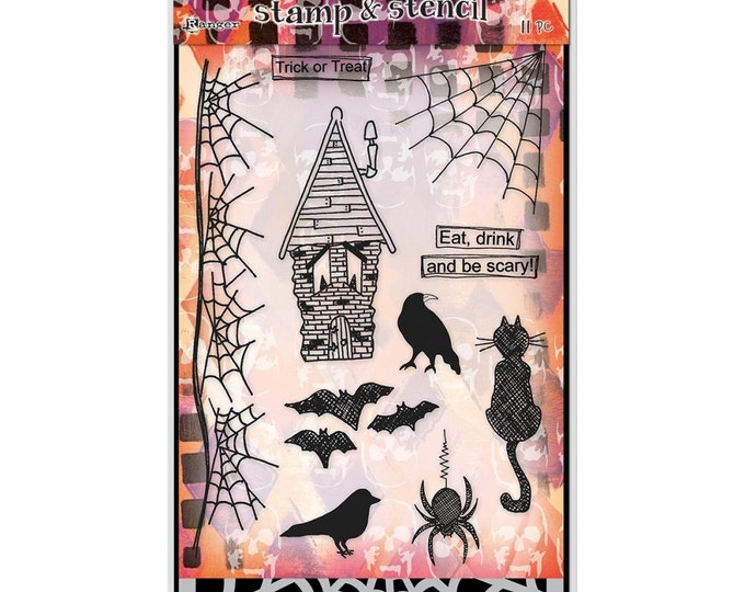 Ranger Dylusions Eat, Drink and Be Scary Halloween Clear Stamps and Stencil Set by Dyan Reaveley